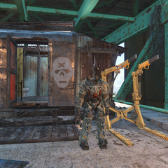 Power armor and a service station near the commander's quarters