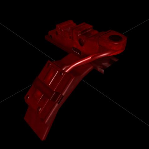 Вирізана частина передньої частини «Залпу». Фарбування в червоний відбувається через помилкі з моделлю.