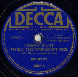 I Don't Want to Set the World on Fire (Decca cover)