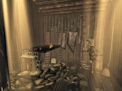 Bradley's shack interior