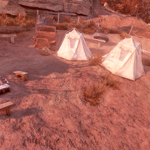 A campsite down the hill, related to <a class=