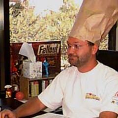 Тім Кейн під час роботи над <i>Fallout</i>, 1996 рік. «<i>Я не допущу, щоб робота заважала кулінарії</i>». (<a href=