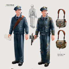 Postmen in pre- and post-War postman uniform