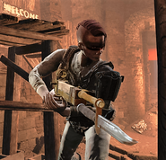 FO4 Red Tourette with weapons