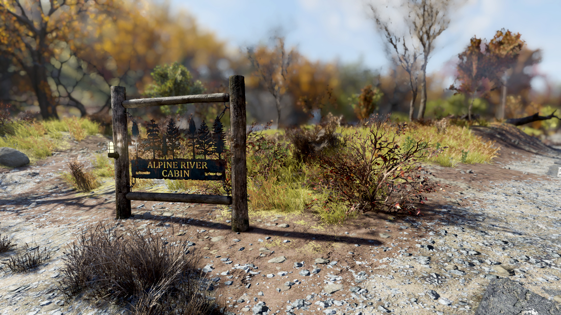Fo76 Alpine River Cabins sign