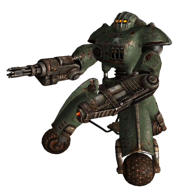 Military sentry bot minigun
