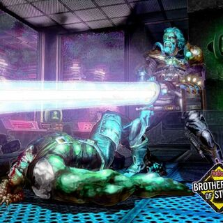 Rhombus killing a super mutant.