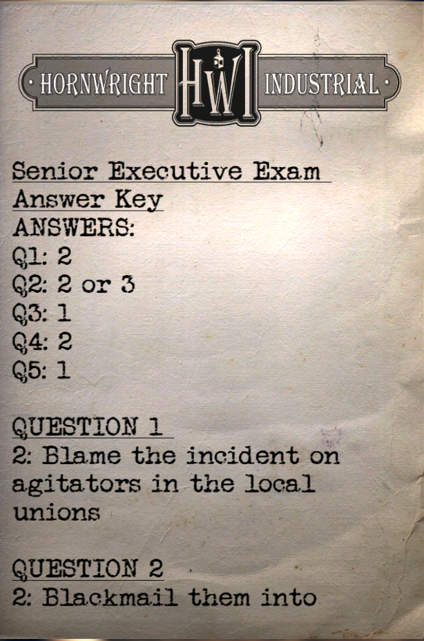 Senior executive exam answer key | Fallout Wiki | FANDOM