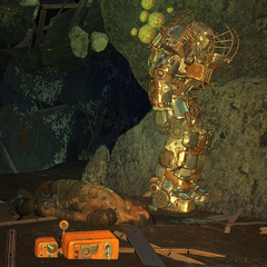 Power armor in the southern cave