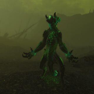 A glowing deathclaw