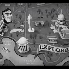 Зображення голови Лінкольна в ролику про Національну алею