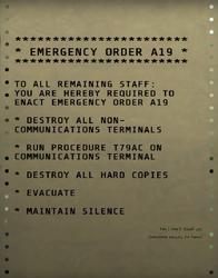 Emergency order A19