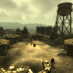 A water tower near Fort Bannister before the Broken Steel DLC