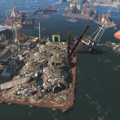 Звалище сміття з якою їздить підвісний вагончик на головний корабель