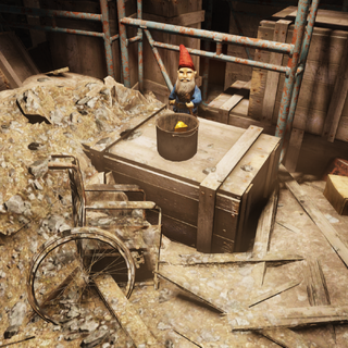 Gnome smelting gold in a cooking pot