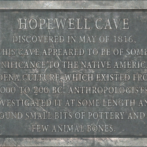 Plaque outside of Hopewell cave