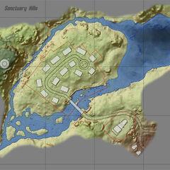Топографічна карта району Сховища 111, Сенкчуарі-Гіллз і стоянки вантажівок «Червона ракета»