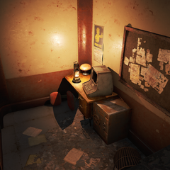 Small room on the first floor containing a safe