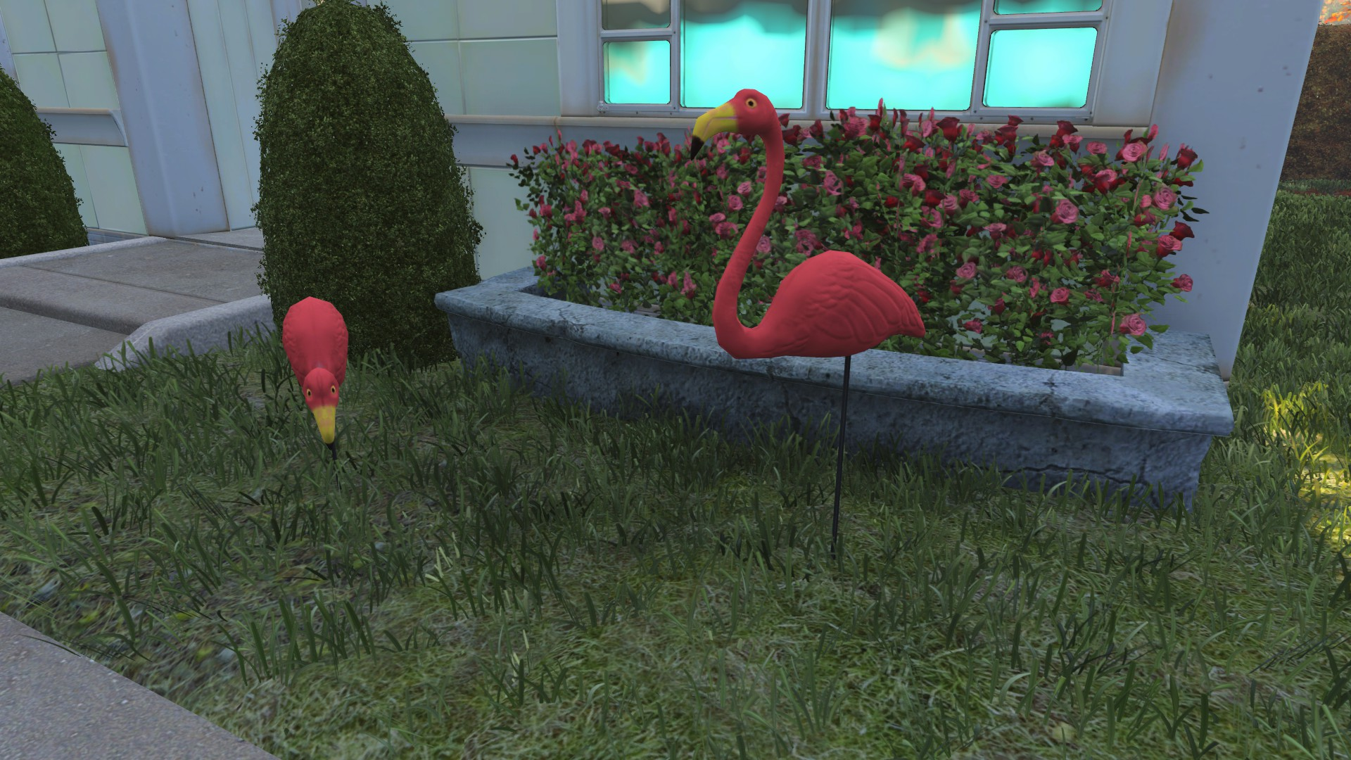 FO4 pre-war Sanctuary Hills flamingos