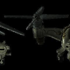 Бойовий гвинтокрил, вид збоку і спереду