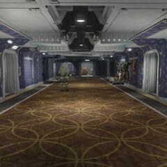 Purple residential hallway