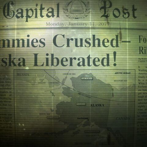 Газетна замітка про звільнення Аляски з позначеним на карті Анкориджем