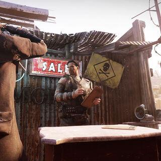A resident saluting the raider vendor