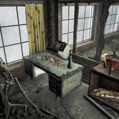 Верхній поверх майстерні, складається з невеликого офісу та безпечного (передового) і 2 скелетів на вершині сейфа