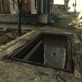 Trapdoor and sewer entrance