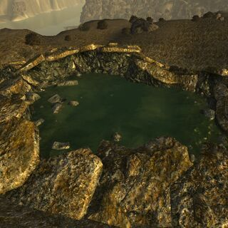 Bigger radioactive bomb crater, filled with water