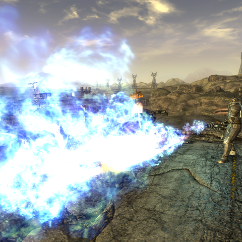 The weapon discharging its unique blue flame.