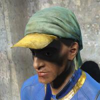 Green rag hat worn