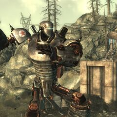 Liberty Prime about to throw a nuke during the quest <a class=