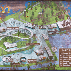 A map of the park, as displayed on a sign by the front entrance