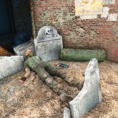 Труп стрілка в правому дальньому кутку кладовища