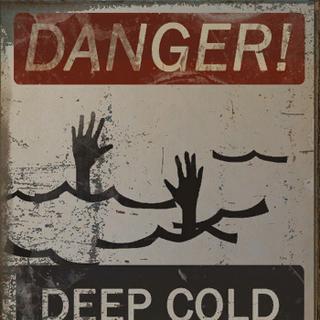 Danger deep cold water Do not swim