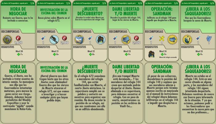 Los Jinetes del Postapocalipsis, segunda parte misiones
