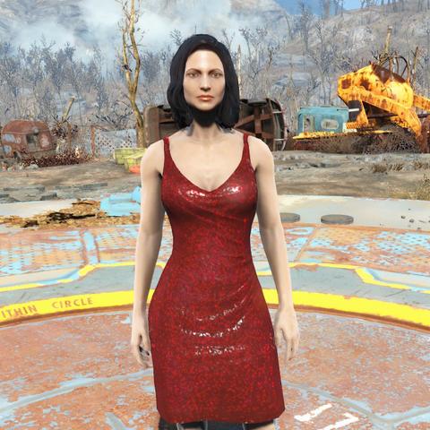 Червоне плаття на жіночому персонажі