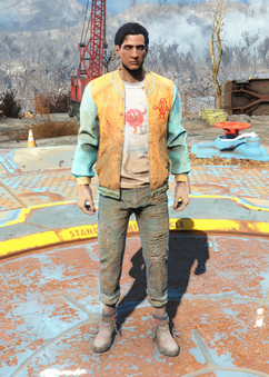 Fo4 Bottle and Cappy Orange Jacket and Jeans