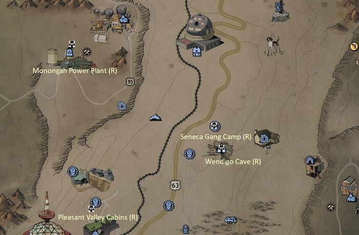 FO76 Power Armor Map Savage Divide Central