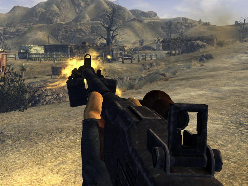 Automatic rifle back shot