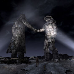 Night shot of the Unification monument