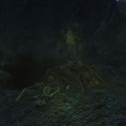 The friendly deathclaw in its nest