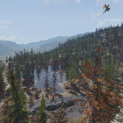 Fissure site Gamma and its resident scorchbeast viewed from an unmarked camp in the cliffs