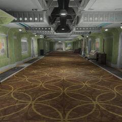 Green residential hallway