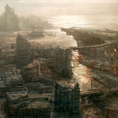 Concept art of Fallout 3's Rivet City