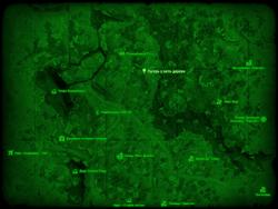 FO4 Лагерь у авто-дерева (карта мира)