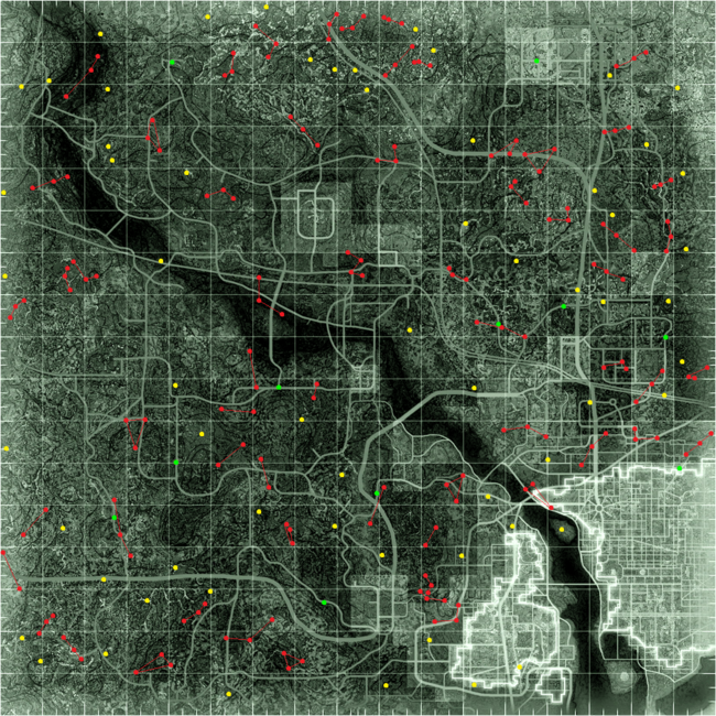 Fallout 3 - spawn point map
