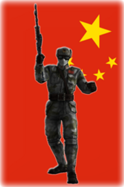 Chińczy na tle flagi