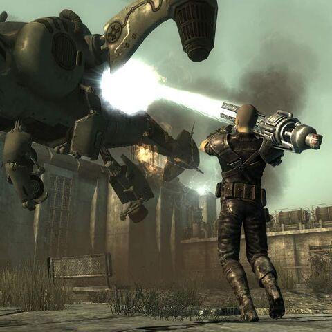 Головний герой, атакуючий гарматою «Тесла» винтокрыл.